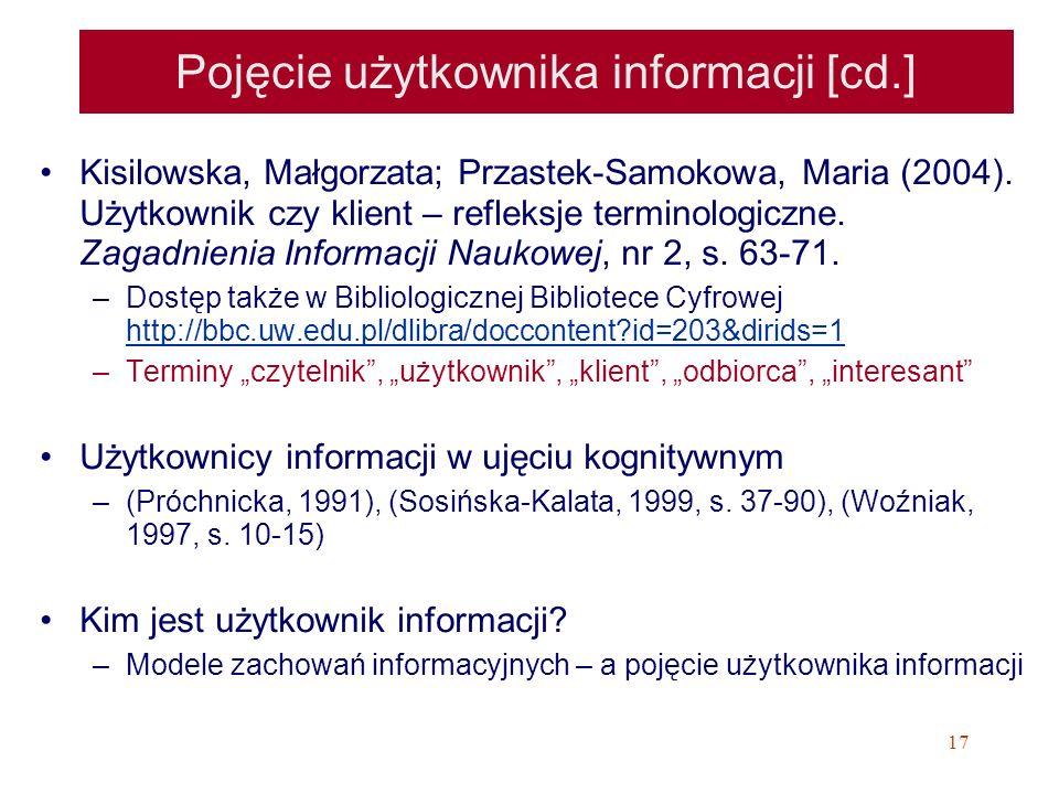 Pojęcie użytkownika informacji [cd.]